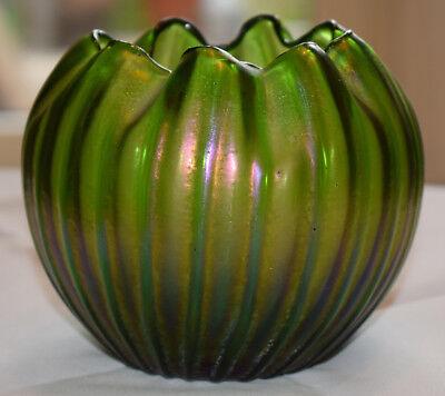 Rindskopf Jugendstil Vase glas Iridescent Green Ribbed Rose Bowl art nouveau