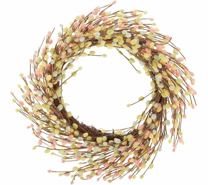 "24"" Pastel Pussy Willow Wreath by Valerie"