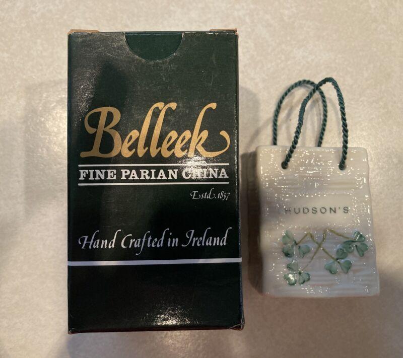 Belleek Hudson's Shopping Bag Christmas Ornament Basket Weave Shamrock NEW