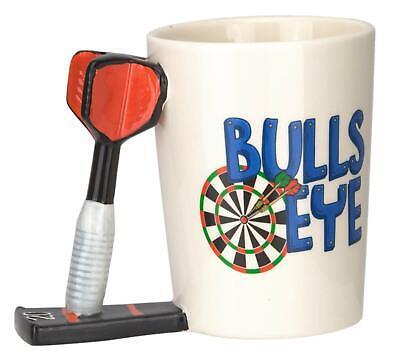 Becher Bulls Eye mit Dartpfeil Griff Kaffeebecher Tee Tasse für Dartspieler