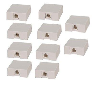 10Pc 1 Port Rj11 6P4c Telephone Phone Line White Modular Jack Surface Mount Box