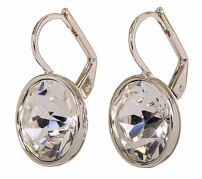 (Swarovski Elements Crystal Round Bella Pierced Earrings Rhodium Authentic 7167z)