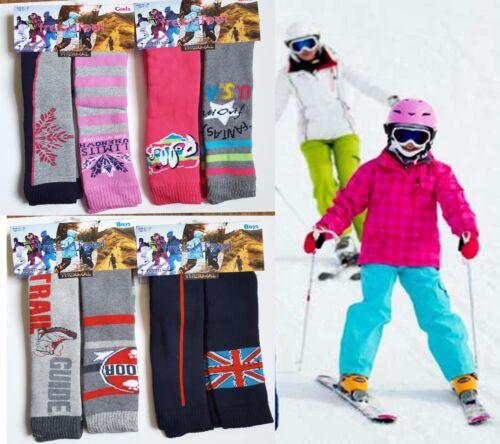 6X Ladies Boys Girls Thermal Ski Socks, Kids Design Long Winter Sports Socks