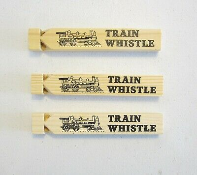 3 NEW WOODEN TOY TRAIN WHISTLES 6.75