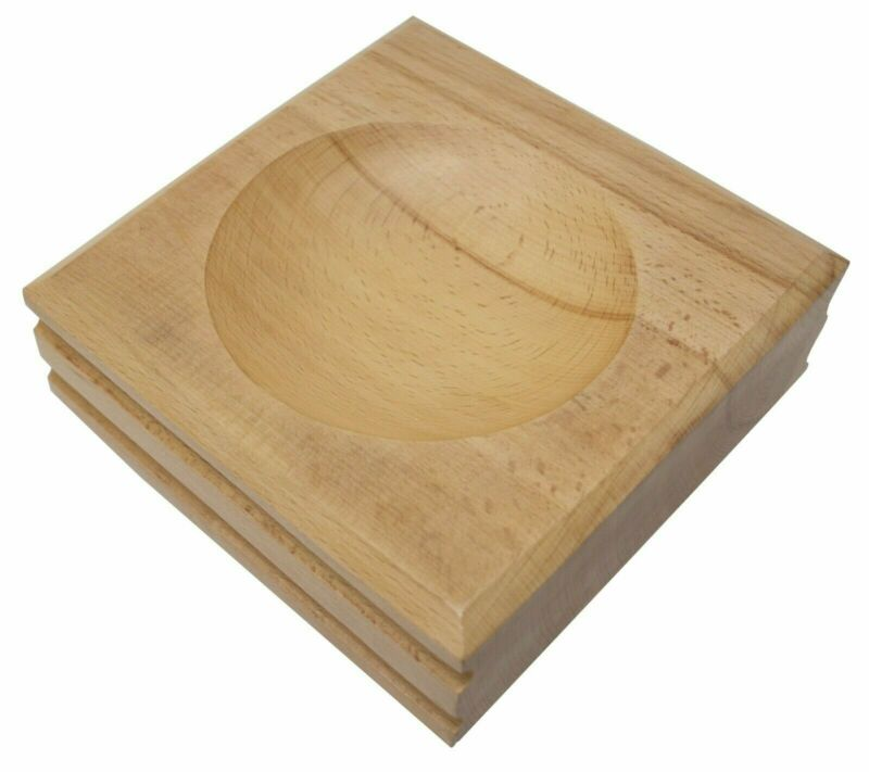 Large Wood Dapping Block 2 Round Impressions Jewelry Metal Forming Shaping Tool