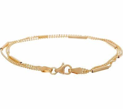 Multi Strand Diamond Cut Ball Bead Bar Bracelet Real Solid 14K Yellow Gold  (Diamond Gold Strand Bracelets)