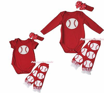 Xmas Baseball Ball Sports Red Cotton Bodysuit Girls Baby Dress Outfit Set NB-18M