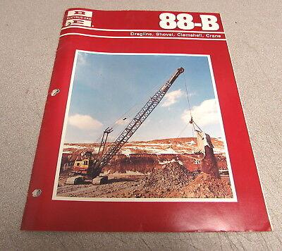 Bucyrus-erie 88-b Dragline Shovel Clamshell Crane Manual Brochure
