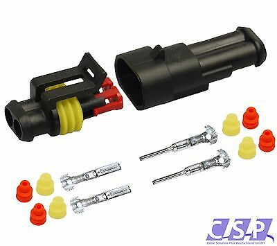 AMP Superseal Stecker Set 2-polig 0,75-1,50 AUTO LKW, Motorrad wasserdicht (Motorrad Amp)