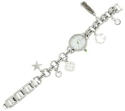 "C. WONDER STAINLESS STEEL MOTHER OF PEARL 9"" CHARM BRACELET WATCH QVC"
