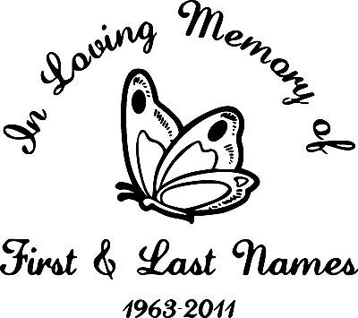 IN LOVING MEMORY BUTTERFLY CUSTOM PERSONALIZED VINYL DECAL STICKER - Butterfly vinyl decals