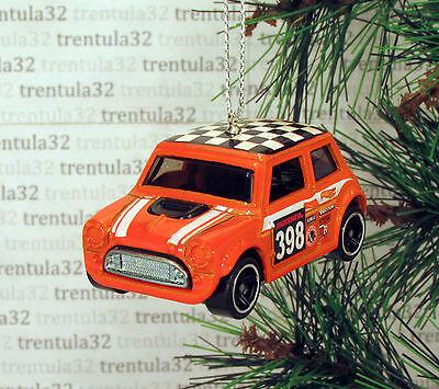 MORRIS MINI COOPER Race Car CHRISTMAS ORNAMENT Orange Checker Board XMAS