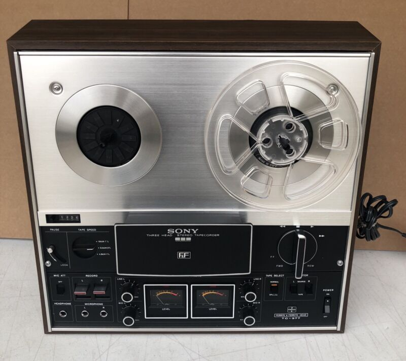 SONY TC-377 Vintage Reel to Reel Recorder w/ Cover And Tapes - Great Shape