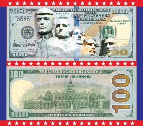 100pk  Trump Rushmore  2020 Dollar Bills  MAGA Novelty Funny Money Feels Real