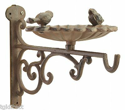 "Plant Hanger Bird Bath Or Feeder Rust Brown Flower Basket Hook 10.25"" Deep"