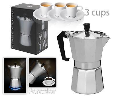 New Italian Espresso Latte Cafetiere Coffee Maker for 3 Cup Cups Percolator