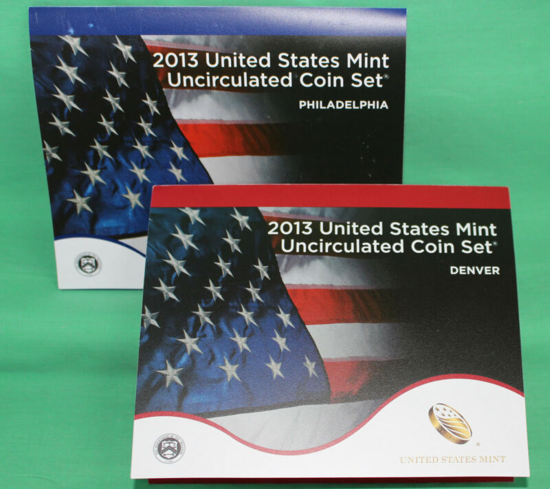 2013 ANNUAL US Mint Uncirculated Coin Set P and D Minted 28 Coins with COA