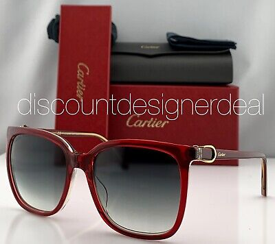 Cartier Cateye Sunglasses CT0004S 004 Red Frame Warm Gray Gradient Lens Gold (Cartier Lenses)