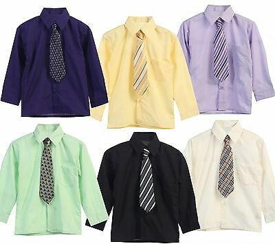 Boys Kids Dress Shirt Tie Solid Button Down Party Formal Long All Size 5 20 New