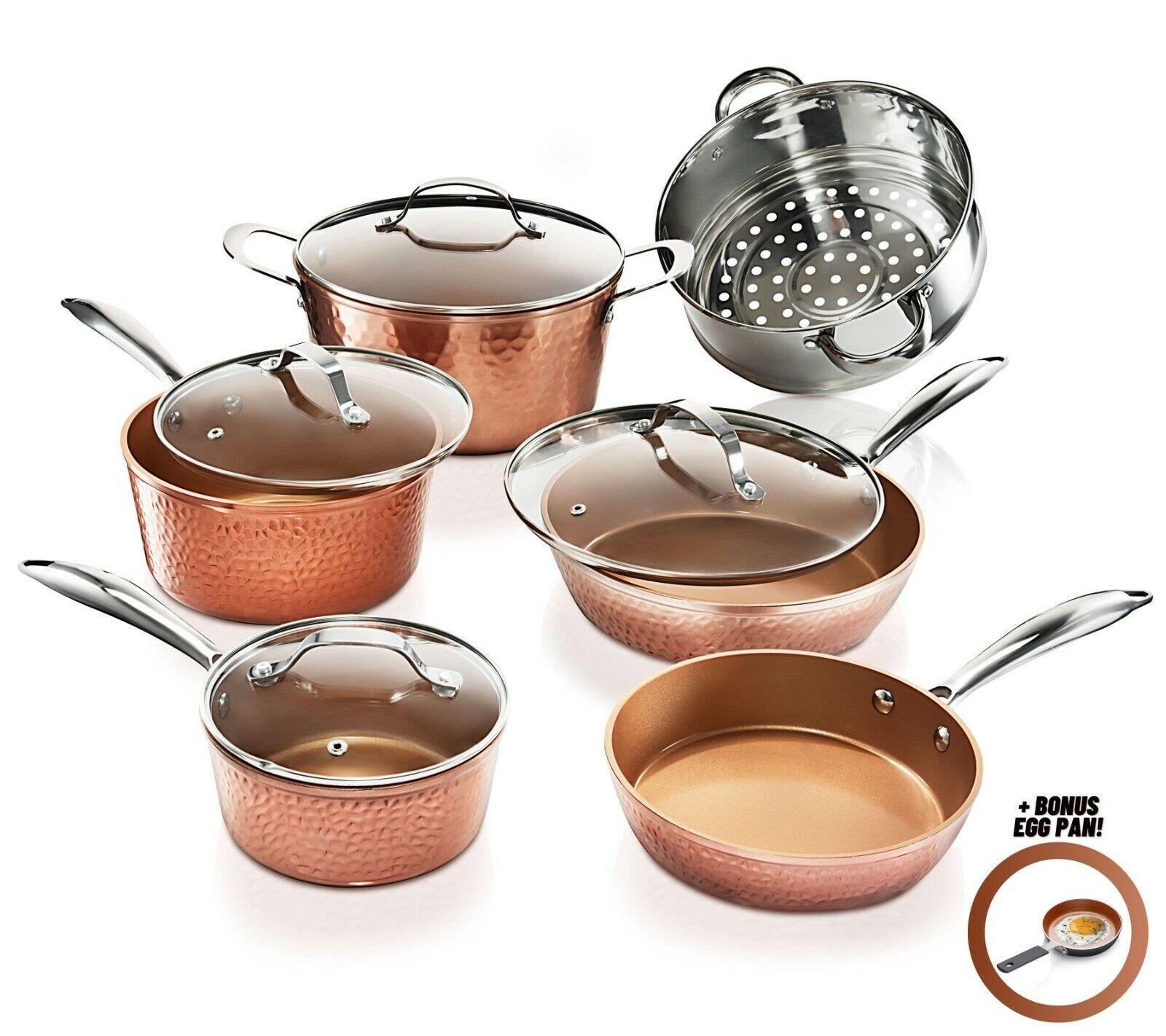 10 piece hammered nonstick copper cookware set