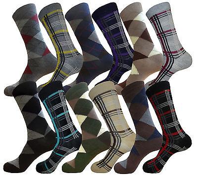 12 PK COTTON ARGYLE & PATTERN DRESS SOCKS SIZE 10-13 MENS FORMAL SOCKS