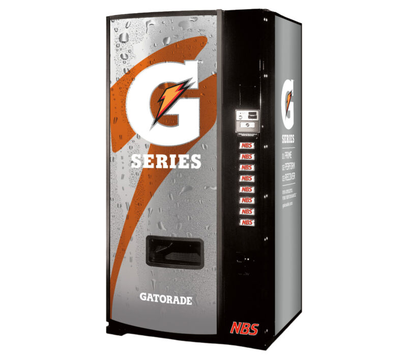 Dixie Narco 501E-9 Soda Vending Machine Gatorade With Coin & Bills