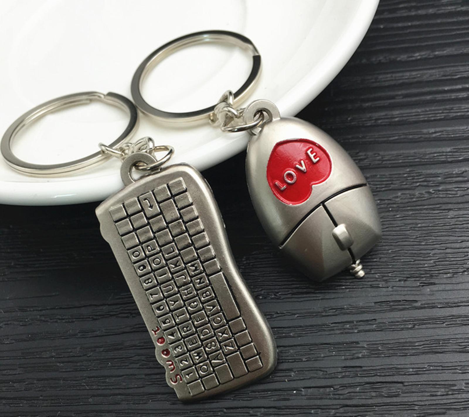 Alloy KeyChains Simulation Mini Mouse Keyboard Pendants Couple Keyfobs  Keyring 73e8fc79529a