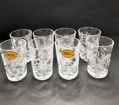 8 NOS Early American Prescut Glass Anchor Hocking Tumblers Glasses