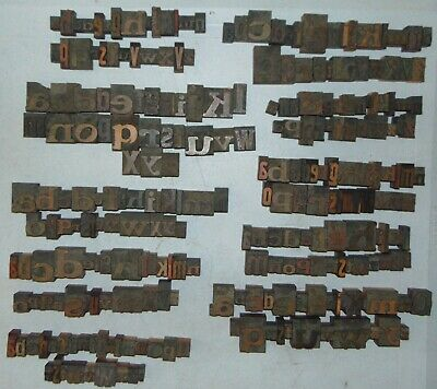 Lot Of 10 Complete Random Size Wood Letterpress Printing Blocks Type Alphabets