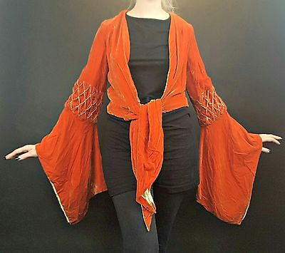 1920s 1930s Orange Silk Velvet Jacket Coat Hanging Sleeves Vtg Art Deco Lee