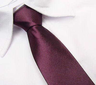 Schmal Herren Damen Krawatte Tie Schlips Binder in Hell AUBERGINE / LILA Uni 8cm