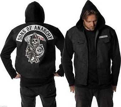Sons Of Anarchy Soa Reaper Patch Blue Denim Fleece Zip Up Hoodie Jacket Shirt