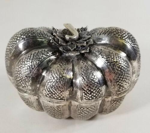 Antique Indonesian Thai South East Asian Silver Betel Box Pumpkin Form