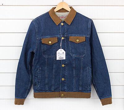Zara Man Faux Shearling Sherpa Indigo Denim Blue Jean Jacket Men's Small
