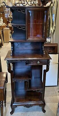 Antique CHINESE Walnut Pierced Carved Pagoda Top Curio Cabinet Multi Tier (Curio Cabinet Stand)