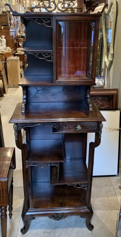 Antique CHINESE Walnut Pierced Carved Pagoda Top Curio Cabinet Multi Tier Stand
