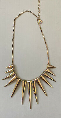 "H&M Faux Gold Spike Necklace Edgy Punk 15"" To 18"" Adjustable"