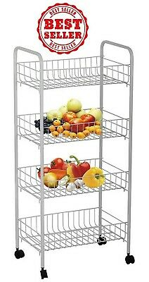 4 Tier Fruit And Vegetable Storage Rack Organizer,Stainless Steel, white