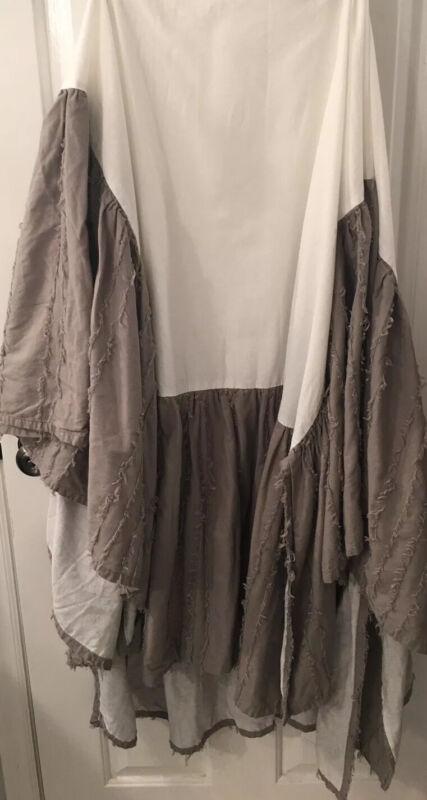 Restoration Hardware Baby & Child Frayed Cotton Voile Crib Skirt Gray Ruffle EUC