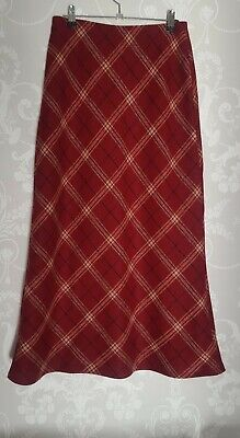 VINTAGE LAURA ASHLEY SKIRT SIZE 10 PETITE PURE NEW WOOL RED