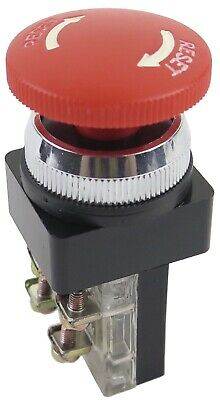 Pb-30mumain-tw-r 30mm Red Mushroom Stop Push Button Twist Release 1no 1nc
