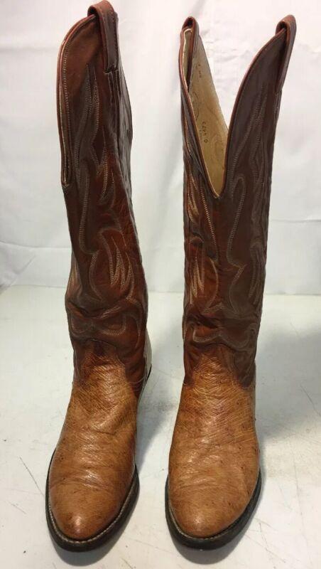 Nocona, Mens, Full, Quill, Ostrich, Cowboy, Boots, Size, 8, 1/2, B, Tan