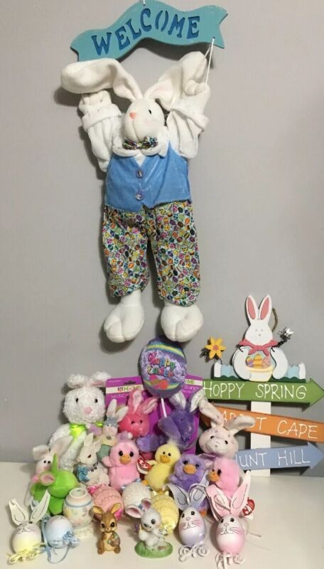 Lot Of 24 Easter Plush Bunny Statues Chicks Sign Candle Holder Ty Basket Beanies