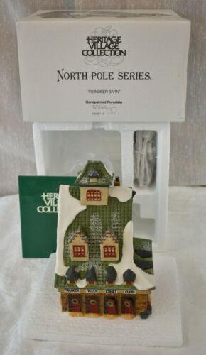 Dept 56 North Pole Village Series Reindeer Barn 5601-4 Christmas 1990