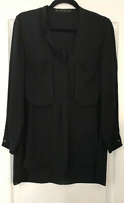 New ZARA BASIC  Black Long Sleeve Button Blouse Oversized Tunic Top Womens Small