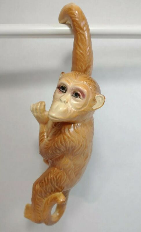 "Vintage Ceramic Hanging Brown Jungle Monkey Figurine Statue 10"" Home Room Decor"