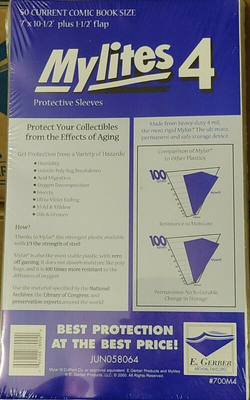 """E Gerber 50-Count *MYLITES 4 COMIC BAGS* Current-Size (7"""" x 10-1/2"""") 700M4 