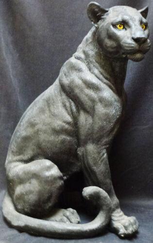 "EBONY   Large Panther Statue Figurine  H21.25 """