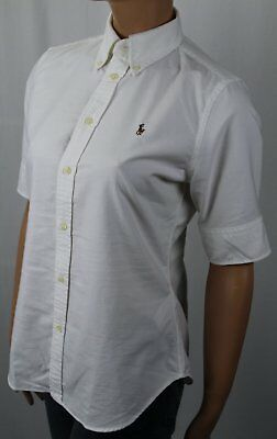 Ralph Lauren White Oxford Blouse Short Sleeve Shirt -