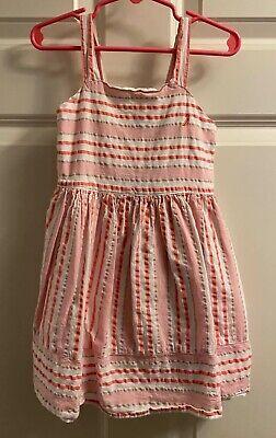 Nautica Pink Striped Cotton Spring Sun Dress, Girls Size 4